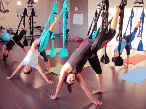 aerial yoga standing split